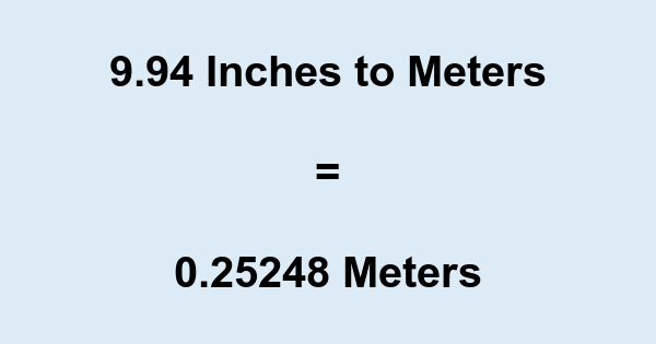 9.94 Inches to Meters